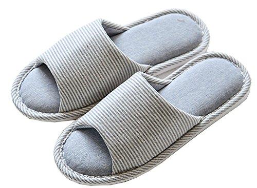 Lijeer Pantofole Interne in casa Cotone Accappatoio Memory Foam Cotton Foam Pantofole Casa Casual Pantofole Open-Toes Spessa Grossa Pattini a Striscia a Strisce Blue horizontal