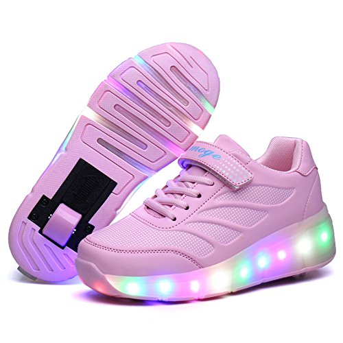 Skybird-UK LED Leuchtend Schuhe mit Rollen Ultraleicht Outdoor Sportschuhe Blinkschuhe Skateboardschuhe 7 Farbe Farbwechsel Rädern Gymnastik Sneaker für Junge Mädchen -