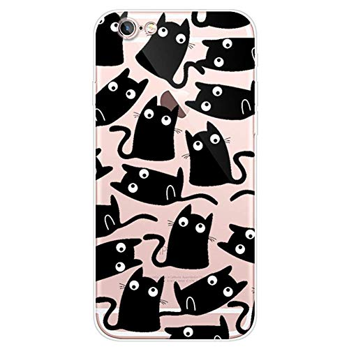 Herbests Kompatibel mit iPhone 6S 4.7 Handyhülle Transparent Silikon TPU Schutzhülle Tier Muster Klar Durchsichtig Crystal Clear Dünn Kratzfest Stoßfest Case,Schwarz Katze