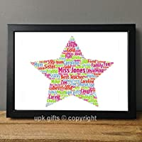 UPK Gifts Personalised Star Teacher Keepsake Print Gift Word Art with FRAME Family Best Friends Daughter Son Love Family