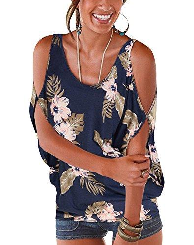 Yoins donna camicetta a maniche corte con spalle scoperte top blusa da donna camicia estiva con motivo floreale fiore modello-dark blue-01 eu40-42