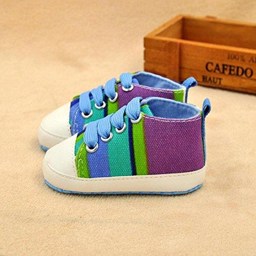 IGEMY Mode Bébé garçon Chaussures sport souples et antidérapantes Chaussettes Baskets en toile Bleu