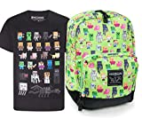 Official Minecraft Steve Overworld Sprites Backpack and Sprites T-Shirt Gift Set Bundle