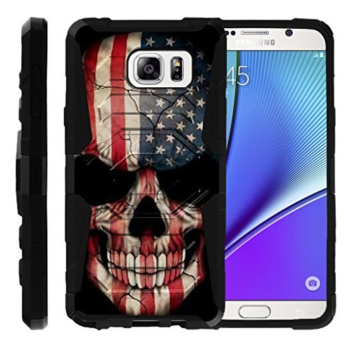 turtlearmor | Kompatibel für Samsung Galaxy Note 5 Fall | N920 [Octo Guard] Dual Layer Holster Schutzhülle Gürtelclip Stabile Ständer Cover -, US Flag Skull