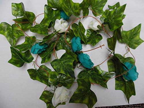 2cm Blaugrün & Ivory Rose Blume Girlande/Hochzeit Blumen/Dekoration/Crafts ()