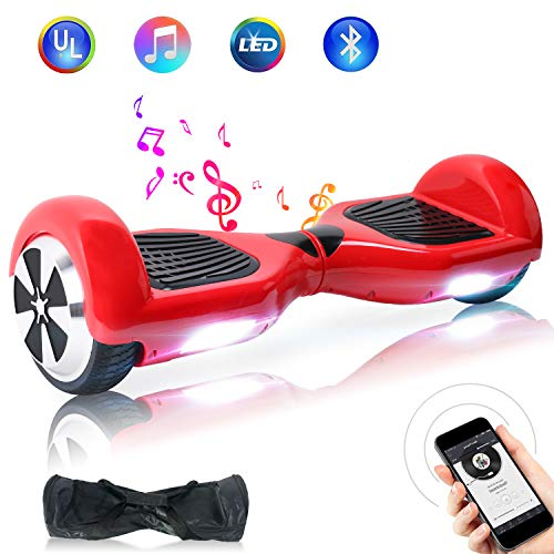 TOEU Hoverboard, 6.5 Zoll Self Balance Scooter mit LED Lights Elektro Scooter E-Skateboard (Red)