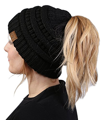 Funky Junque CC BeanieTail Womens Ponytail Messy Bun Beanie Solid Ribbed Hat Cap (Knit Cable Womens Beanie)