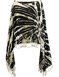 CCcollections Tie Dye Groovy Colors 2in1 Poncho Wrap Shawl Bohemian Hippie Festival Beachwear
