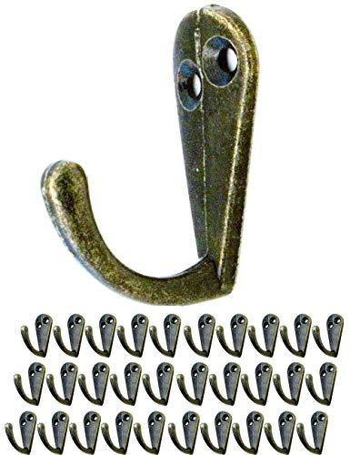 FUXXER® - 30x Antik Haken   Garderoben-Haken, Handtuch-Haken Kleider-Haken   Guss-Eisen Messing Bronze Design   Vintage Landhaus Retro   30er Set