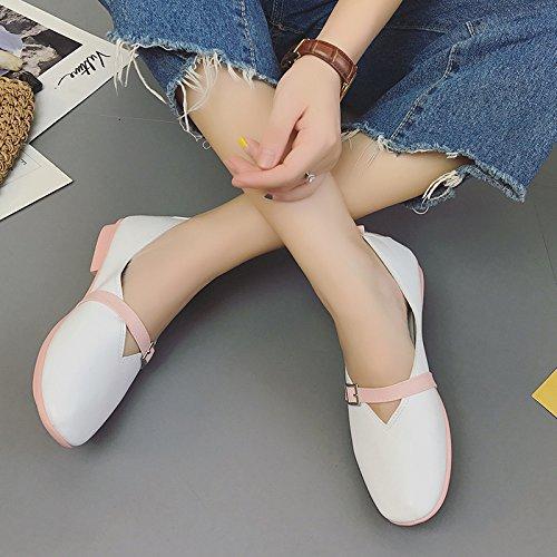 XY&GK Donna Sandali con fondo piatto tacco basso della fibbia della cintura di sicurezza scarpe basse scarpe da donna Pink