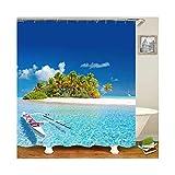 Bishilin Badvorhang Anti-Schimmel Kokospalme am Meer 3D Lustiger Duschvorhang Polyester-Stoff 165x200