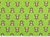 ab 1m: Kinderstoff, Baumwolle, Affen, grün, 140cm breit