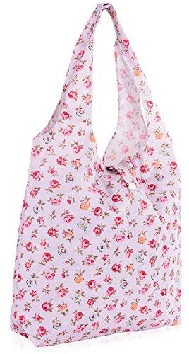 Big Handbag Shop riutilizzabili, Eco-Friendly, pieghevole e compatto, borsa per la spesa, Planet (Rose - Baby Pink)