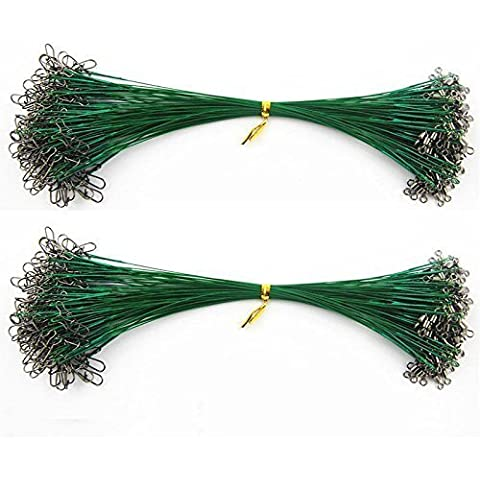 Shaddock pesca® Nylon ad alta resistenza acciaio inossidabile leader Line Pesca Traccia Spinner pesca filo Rig con chiusura a scatto e Girelle Pesca Tackle Esche, 1x19 (26lb) 100PCS