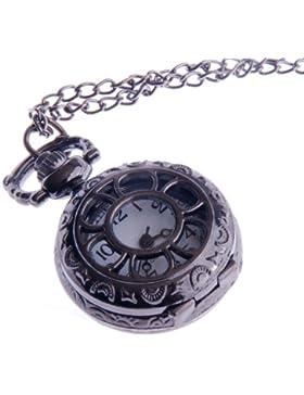 ShoppeWatch Damen Quarz Taschenuhr Anhänger mit Kette kleines Ziffernblatt Halb-Savonette weiß arabische Ziffern...