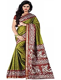 Design Willa Women's Art Silk Printed Saree With Blouse Piece DWshr0422_Green_Free Size