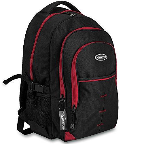 Monzana® Rucksack Damen Herren Schulrucksack Laptop Backpack Notebook Freizeitrucksack Bürorucksack Reiserucksack ✔wasserabweisend ✔Laptopfach bis 15 Zoll ✔bis 49 Liter ✔5 Zusatztaschen schwarz-rot