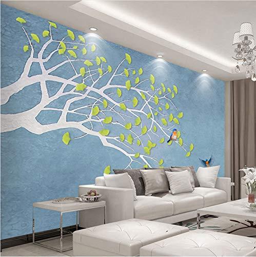 Mkkwp Benutzerdefinierte Fototapete 3D Wandmalerei Moderne Einfache Grüne Baum Blätter Birdie Wohnzimmer Sofa Schlafzimmer Tv Wandbild Wohnkultur-140Cmx100Cm