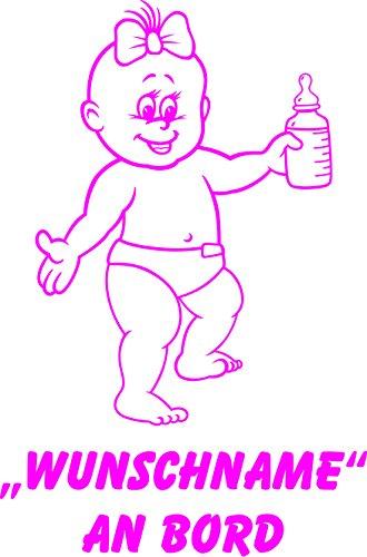 INDIGOS UG - Babyaufkleber / Kinderaufkleber 088 mit Wunschname / Wunschtext an Bord ca. 20 cm Höhe - Autoaufkleber in verschiedenen Farben