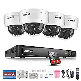ANNKE Video Surveillance Kit 8CH 1080P POE NVR Max Up to 5.0MP Security Camera Systems with 2TB HDD and 4x 2.1Megapixels HD IP67 Weatherproof CCTV Night Vision Camera Compatible with IP Camera