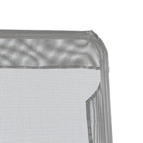 Gartenliege Bäderliege 160 x 48,5 x 100 cm Textilene blau 5kg Armlehne Stahlrahmen Relaxliege klappbar Kippliege bis 100 kg belastbar wetterfest pflegeleicht Farbe wählbar grau blau schwarz (Grau) - 2