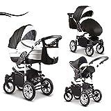 16 teiliges Qualitäts-Kinderwagenset-Reisesystem 3 in 1 'COSMO': Kinderwagen + Buggy + Autokindersitz +...