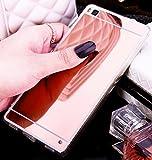 Coque pour Huawei P9 Lite, Miroir miroir Housse Coque Silicone TPU pour Huawei P9 Lite, Surakey Elegant Cool Bling Briller étincellement Coloré Diamond Rose Or Coque Effet Miroir Etui TPU Téléphone Coque Coquille de protection Flex Soft Gel en Caoutchouc Bumper Shockproof Anti Scratch Housse Rigid Back Cover pour Huawei P9 Lite , Or Rose