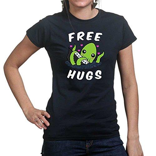 Womens Free Hugs Cthulhu Funny Ladies T Shirt (Tee, Top) Small Black (Black Lustige T-shirt Tee-small)