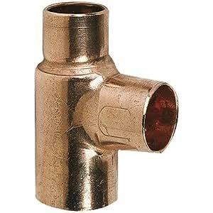 Raccord cuivre en T réduit à souder - Femelle - Ø 12 - 14 - 12 mm - Frabo