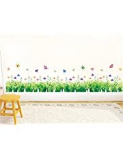 Solimo Wall Sticker for Bedroom (Nature's floral fence, ideal size on wall: 137 cm X 33 cm)