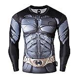 Fringoo Mens Compression Superhero Top Base Layer Gym Long Sleeve Running Thermal Sweatshirt Workout T-Shirt Spider Superman Bat (Large, Batman)