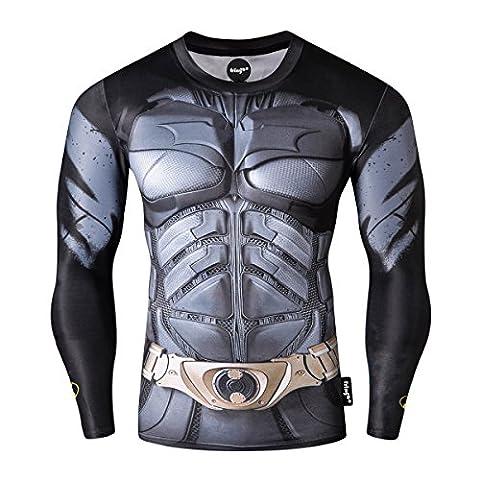 FRINGOO® Mens Compression Superhero Top Base Layer Gym Long Sleeve Running Thermal Sweatshirt Workout T-shirt Spider Superman Bat (Medium, Batman)