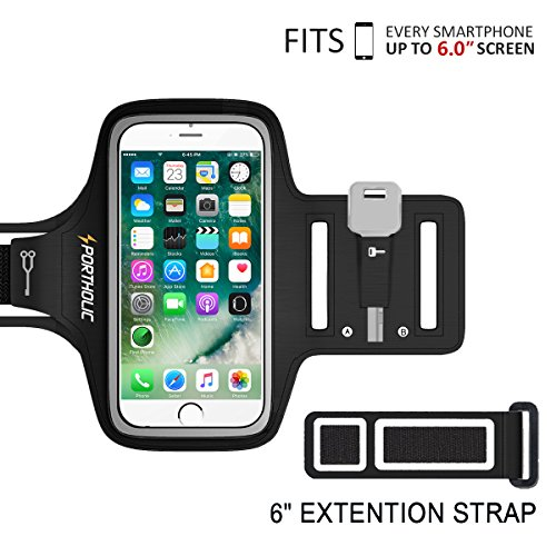 PORTHOLIC Universal Sweat Resistant Sports Armband For iPhone 6 Plus iPhone 6s Plus iPhone 7 Plus, Samsung Galaxy S8, S8 Plus, S7 edge, S6 edge, Huawei Nexus Android With Screen Up to 6.0 inches -Extension Band- For Running,Jogging,Hiking,Biking With Key&