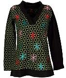 Guru-Shop Besticktes Langarmshirt mit V-Neck Blume des Lebens Hippie Chic, Damen, Schwarz/Olive, Baumwolle, Size:S (36), Pullover, Longsleeves & Sweatshirts Alternative Bekleidung