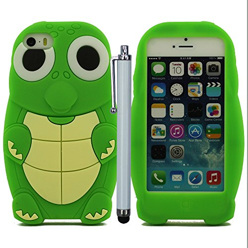 Animal style (Mignon Petite Tortue) Doux Silicone Gel Housse Case Coque Pour iPhone 5 5S 5C 5G Case Bumper Anti-Scratches+Colorful Stylus pen ( Various Styles ) Vert