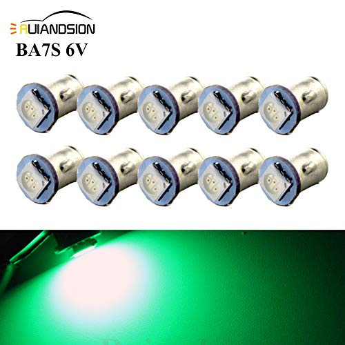 Ruiandsion Lot de 10 ampoules LED 5050 1SMD 6 V BA7S pour tableau de bord Vert 30 lm
