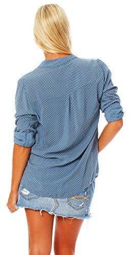 ZARMEXX feine Viskosebluse Hemdbluse langarm Fischerhemd Regular fit leichte Sommerbluse Tunika Longshirt Raute Jeansblau