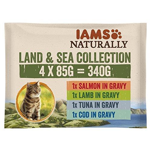 Iams Naturalmente Cat Food Land And Sea Collection, Completo e equilibrata Cibo per Gatti con ingredienti Naturali, 4x 85g