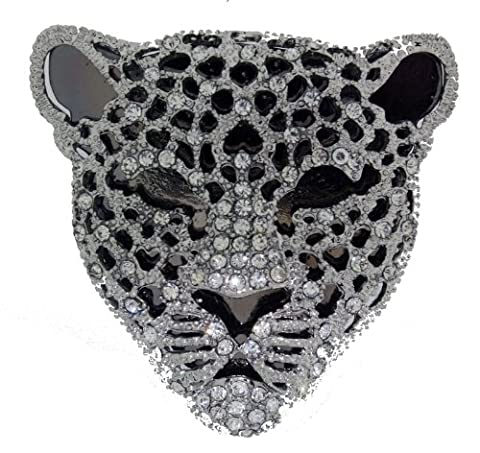 Jodie Rose Polished Silver Colour with Clear Crystals Leopard Shape Base Metal Brooch