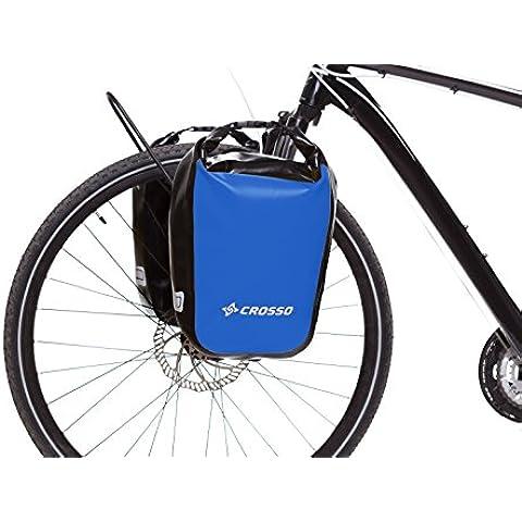 CROSSO® DRY SMALL 30 / DRY BIG 60 Borse Bici   30/60 litri   Tarmaulin   2 Borse   Strisce riflettenti   Impermeabile, Crosso Farbe:17. Blue / 30L