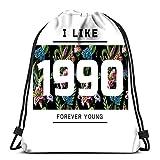 Randell Gym Drawstring Backpack Sport Bag Slogan Number Lilies Wild Flowers Lightweight Shoulder Bags Travel College Rucksack for Women Men