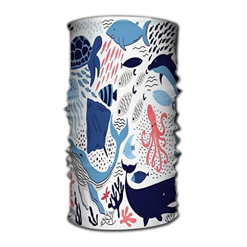 sdfwerweq Stirnband Headbands Elastic Turban Head Wrap Stylish Hair Band Set Hand Drawn sea Life Elements Doodle Cartoon Marine Objects Your Design Drawing