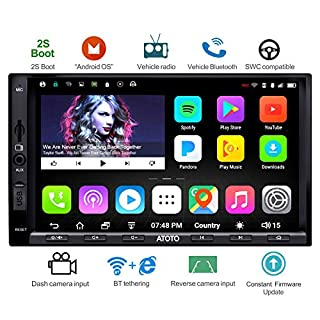 ATOTO A6 Double Din Android Car Navigation Stereo with Dual Bluetooth - Standard A6Y2710SB 1G/16G Car Entertainment Multimedia Radio,WiFi/BT Tethering Internet,Support 256G SD &More