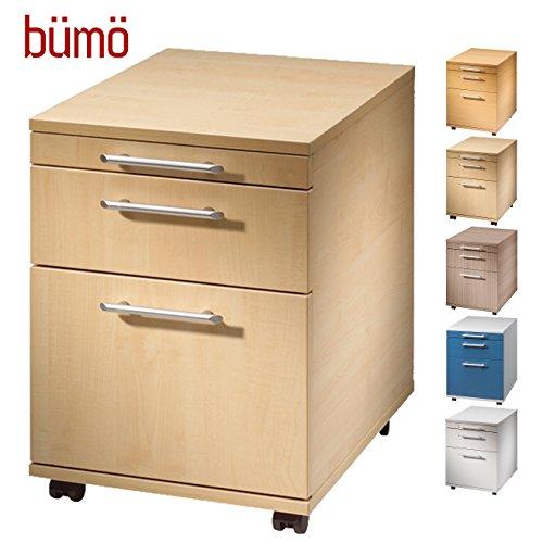 Bümö® Rollcontainer mit 2 Schüben und Hängeregister | Bürocontainer aus Holz | Tischcontainer