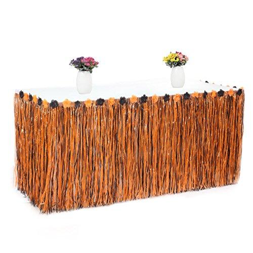 Buffet-terrasse Tisch (Zantec Künstliche Gras Tisch Rock Blume eingelegte hawaiianische Halloween Party Geschirr Dekoration)