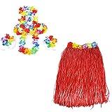 Smallwise Trading Hawaiian Grass Skirt Flor Hula Lei Guirnalda Disfraz 5pcs Set (Rojo)
