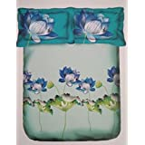 Portico New York Lavender Printed Cotton Multicolor King Size Double Bedsheet With Pillow Cover- 274CM X274CM