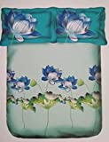 #10: Portico New York Lavender Printed Cotton Multicolor King Size Double Bedsheet With Pillow Cover- 274CM X274CM
