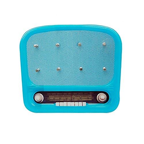 """(blau) Vintage Schlüsselbrett """"Radio"""" aus Glas im Retro Design mit 8 Haken. Schlüssel, Schlüsselanhänger, Schlüsselkasten …"""
