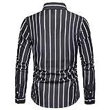 Blusa de Hombre BaZhaHei Rayas Manga Larga Hombre Rayas Pintura Grande Tamaño Camisas Blusa Casual Top Cómodo y Transpirable de Camisa de Solapa Primavera Manga Larga para Hombre Camisetas de Hombre